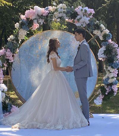Свадебная арка, декорации к свадьбе, круглая арка из метала, фотозона