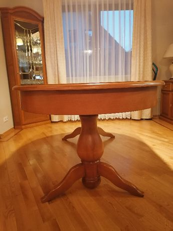 Stół do jadalni, rozkładany, drewniany (buk)
