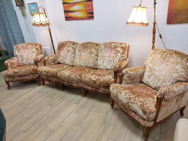 Диван з кріслами, меблі з Європи, бароко, вінтаж, ретро меблі, різьба