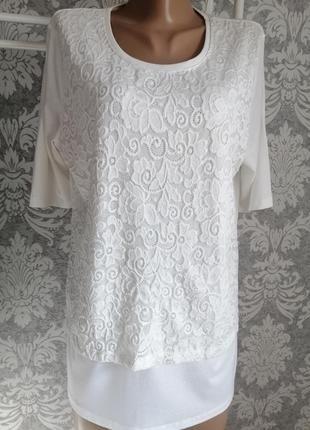 Блуза белая большого размера с кружевом
