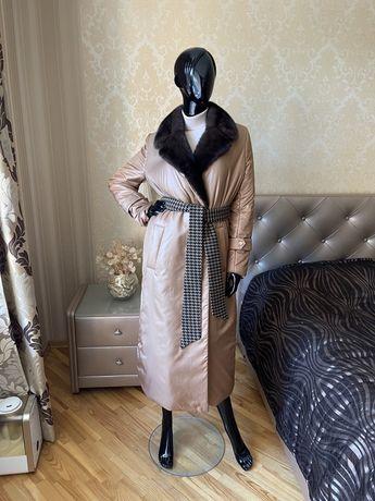 Пальто с норкой, демисезонное, новое, 42-52, черный, бронза, серый