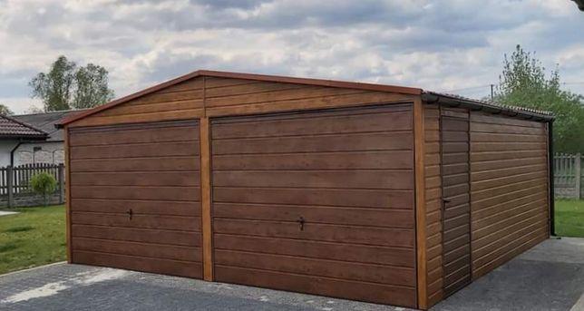 Garaż blaszany drewnopodobny 6x6 garaże drewnopodobne WZMOCNIONE