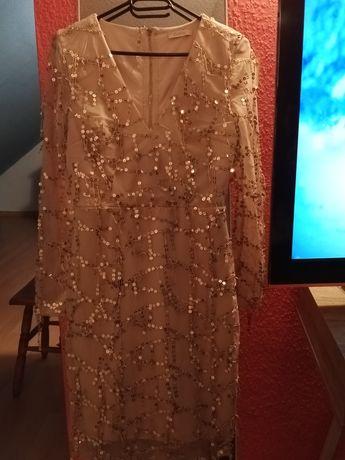 Sukienka cekinowa jasna