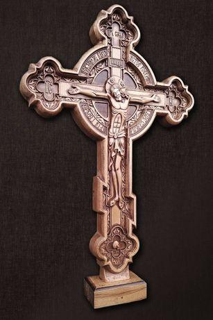 Резной крест , деревянный буковый . Хрест дерев′яний.