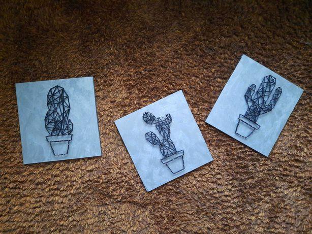 Obraz typu String Art. Rękodzieło. Kaktusy