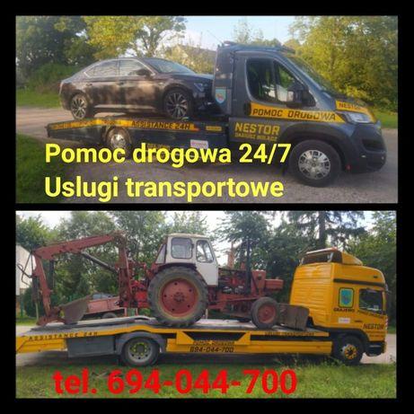 TRANSPORT MASZYN DO 12 TON pomoc drogowa 24H