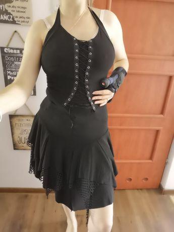 Czarna sukienka unikat gotycka sznurowanie sexy