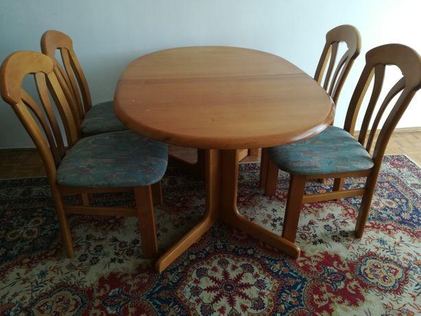 Stół drewniany + 6 krzeseł, olcha, rozkładany 94x130 do 94x230