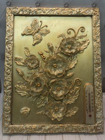 Картина обьемная 3Д «Золотые цветы»