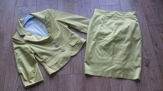 Limonkowy komplet żakiet + spodnica s/m