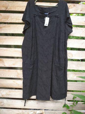 Хлопковое платье свободного кроя (большой размер)