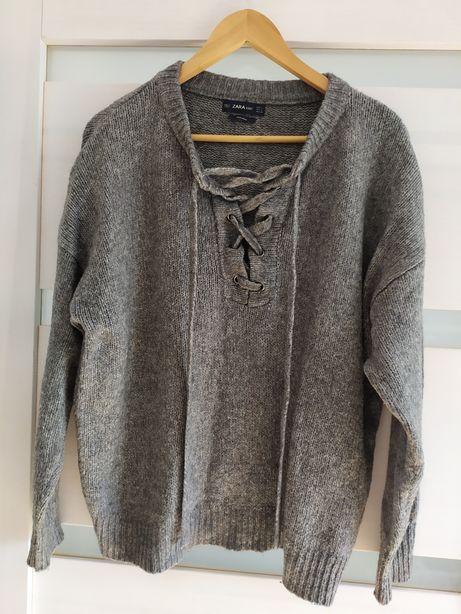 Sweterek sweterek Zara Knit wear z wełną oversize L M