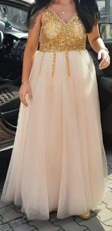 Suknia ślubna cywilny sukienka złota szampanski księżniczka ciążowa