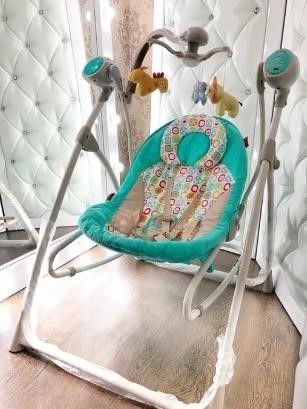 Кресло-качалка шезлонг 3в1 качалка 0+ люлька с пультом CARRELLO Nanny