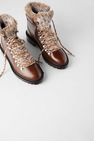 Шкіряні черевики з штучним хутром/ ботинки / сапоги кожа zara -37