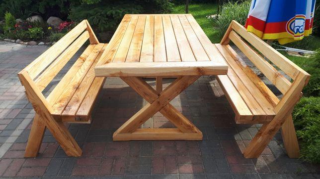 Stół drewniany z lawkami 80x180 cm ogrodowy, jesion,