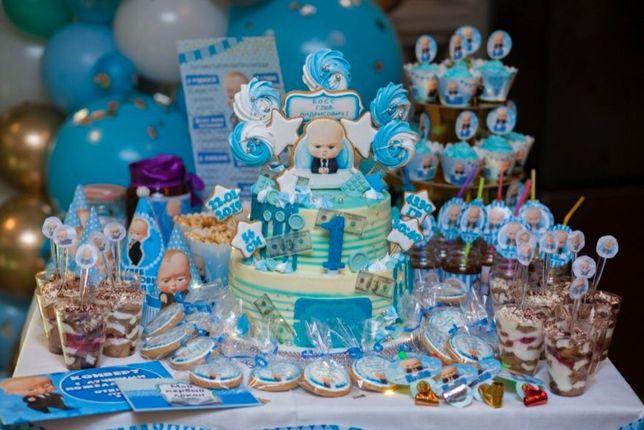 """Декор дня рождения """"Босс Молокосос"""" набор (кенди бар, шарики, скатерть"""