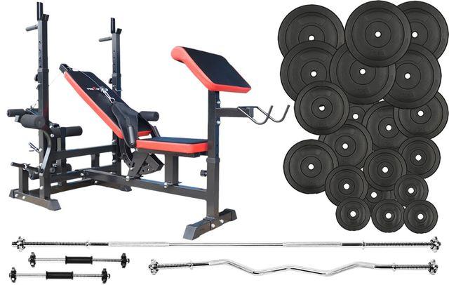 Super cena !!! Zestaw do ćwiczeń 160kg MASYWNA ŁAWKA