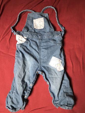 Ogrodniczki jeansowe dla dziewczynki dlugie 80-86