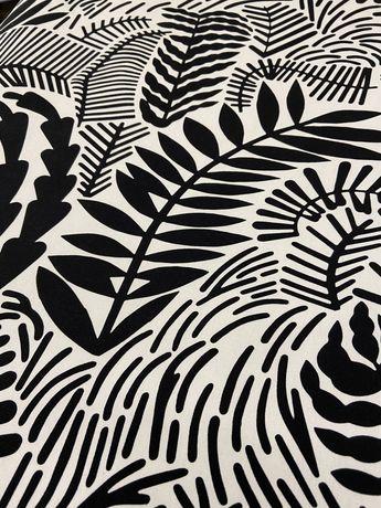 IKEA tkanina/materiał 12 metrów wzory biało/czarna na zasłony/obrus NO