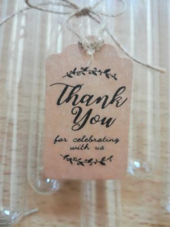 Probówki z winietkami-podziekowania dla gości, wesele, ślub