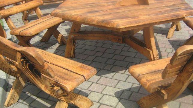 Komplet mebli ogrodowych stół sześciokątny + ławki