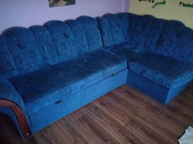 Łóżko  narożnik niebieskie