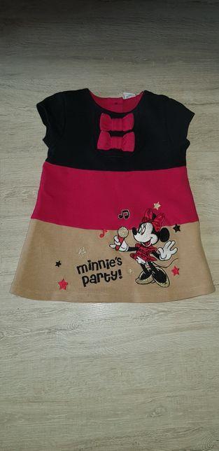 Śliczna sukienka Myszka Minnie 6-9m 68-74cm.