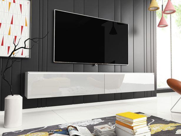 Długa szafka RTV pod telewizor 180 cm - BIAŁY LAKIER opcja LED