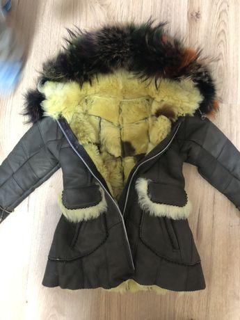 Натуральная кожаная дублянка, зимняя куртка, пальто на девочку