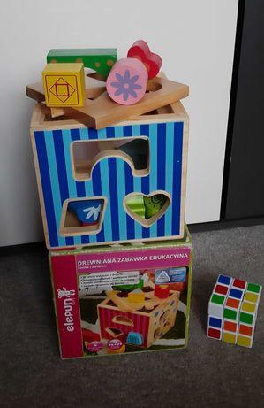 Klocki drewniane, sorter Elefun Toys. Stan bardzo dobry. Gratis!