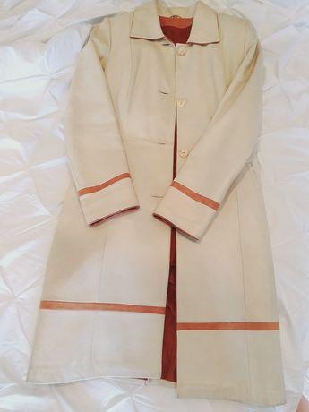 Skórzany płaszcz LAGUNA 38 M z podpinką i futrzanym kołnierzem