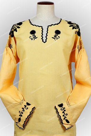 Camisa Bordada de Viana em linho com bordado rico à mão e recortes
