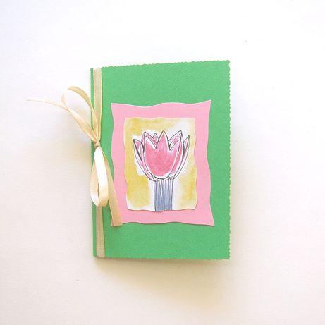 ładna kartka zielona, zielona kartka z kwiatem, ręcznie robiona kartka