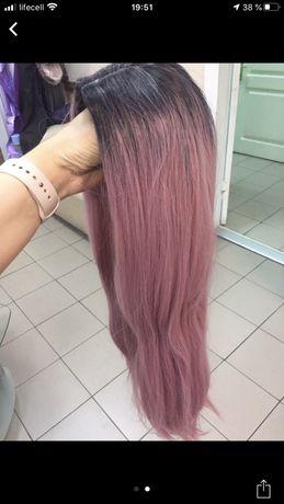Волосы омбре розовые