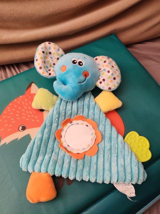 Miękka zabawka niemowlęca sensoryczna, grzechotka, lusterko, gryzak Rumia - image 1