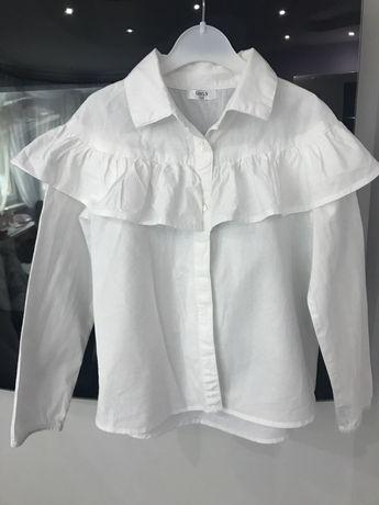 Biała koszula z falbana 116 dziewczeca elegancka