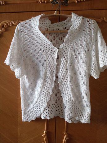 Болеро вязаное белого цвета