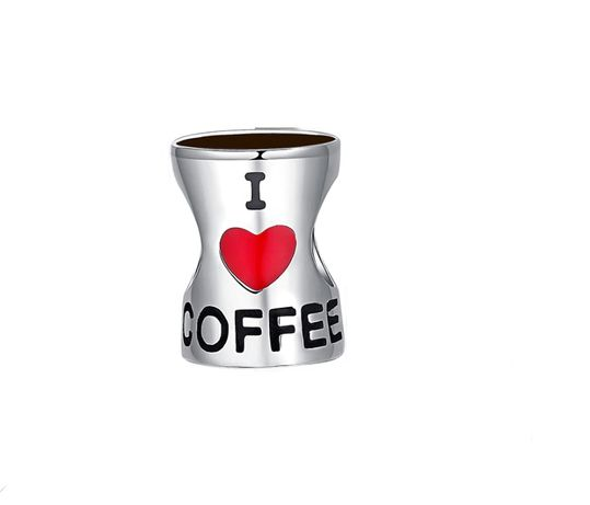 Charms Kawa kubek kawy I love Coffee do bransoletki Pandora S925