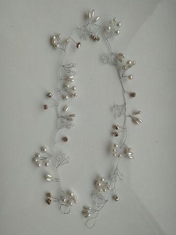 Ozdoba ślubna do włosów - srebrna z perełkami