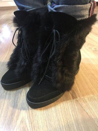 Botki sneakersy futro czarne Calzo