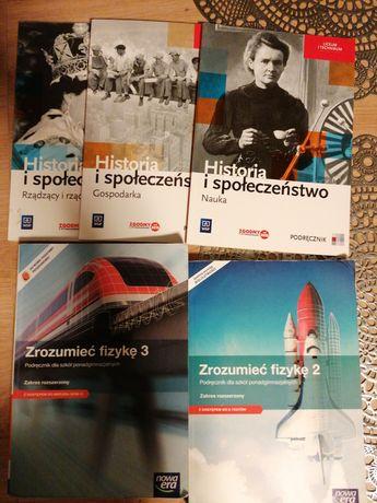Zestaw książek historia 3szt i fizyka 2szt