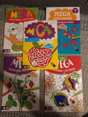 Pakiet Kolorowanki, krzyżówki, łamigłówki MEGA z naklejkami