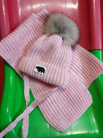 Зимний набор шапка шарф 46-48
