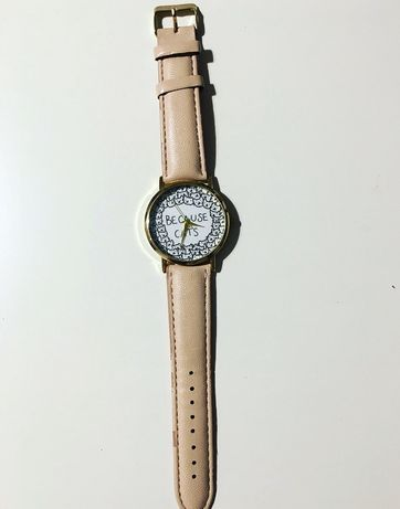Piękny zegarek nowy cropp nadruk kota because cats