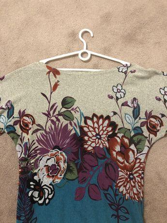 Tunika swetr wiosenny szary w kolorowe kwiaty M