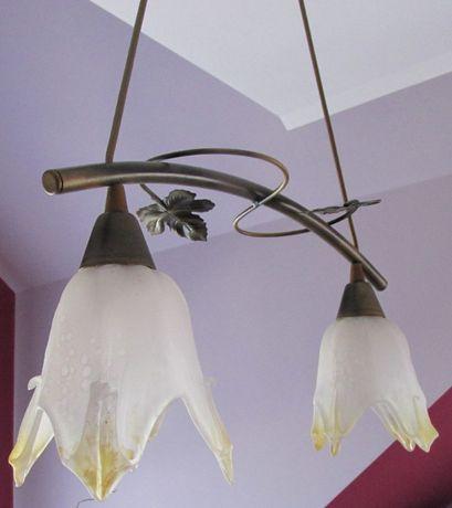 Lampa sufitowa wisząca 2 klosze stare złoto