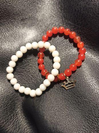 Biało-czerwone bransoletki (zestaw)