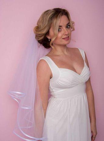 Фата свадебная с бейкой белая, айвори