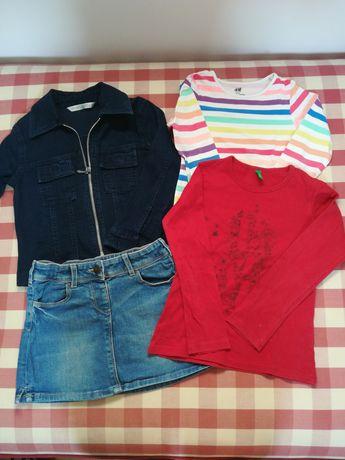 Kurtka, spódniczka, koszulki roz 110 H&M, Benetton, C&A, Marks&Spencer